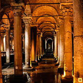 Basilica Cistern -  Beautiful setting with lightshow